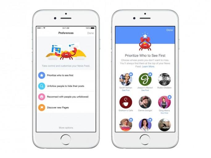 Nutzer können nun in den Einstellungen Personen und Seiten auswählen, deren Beiträge zu Beginn des News-Feeds erscheinen (Bild: Facebook).