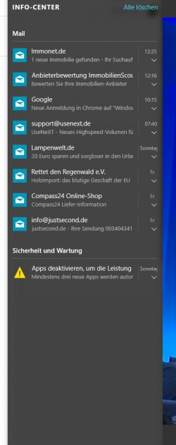 Das Nachrichten/Action/Info-Center in Windows 10 ersetzt die Charmsbar in Windows 8.1 (Screenshot: Thomas Joos).