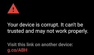 Boot-Veroification-Warnung (Bild: Google)