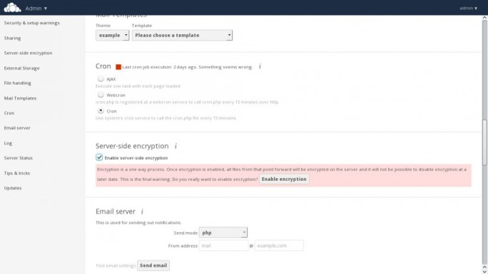 Eine wesentliche Neuerung von owncloud 8.1 sind die erweiterten Verschlüsselungsoptionen (Screenshot: ownCloud).
