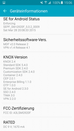 Die aktuelle Knox-Version lässt sich in den Geräteinformationen anzeigen (Screenshot: Kai Schmerer).