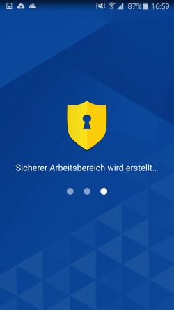 Der Samsung Knox-Assistent erstellt den sicheren Knox Workspace (Screenshot: Kai Schmerer).