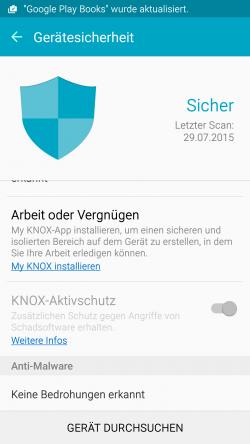 Der Knox-Aktivschutz kann Smartphones vor Angriffen auf den Kernel und Android-Systemdateien schützen (Screenshot: Thomas Joos).