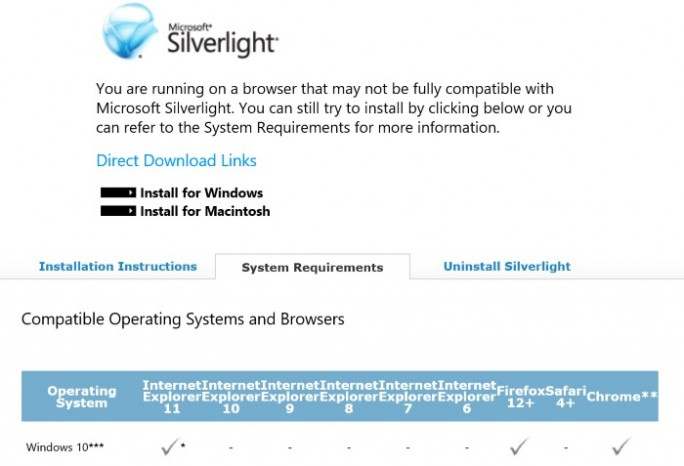 Silverlight-Unterstützung in Windows 10 (Screenshot: ZDNet.de)