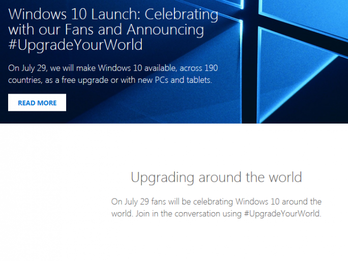 Windows 10 Launch (Screenshot: ZDNet.de)