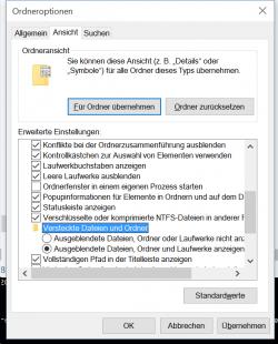 Windows Explorer: ausgeblendete Dateien sichtbar machen (Screenshot: ZDNet.de)