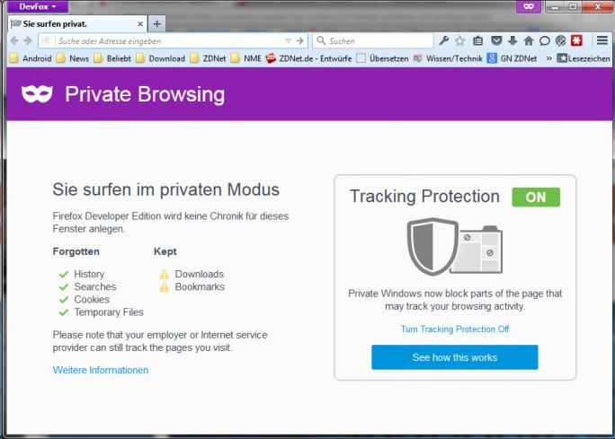 Firefox-Trackingschutz (Screenshot: ZDNet.de)