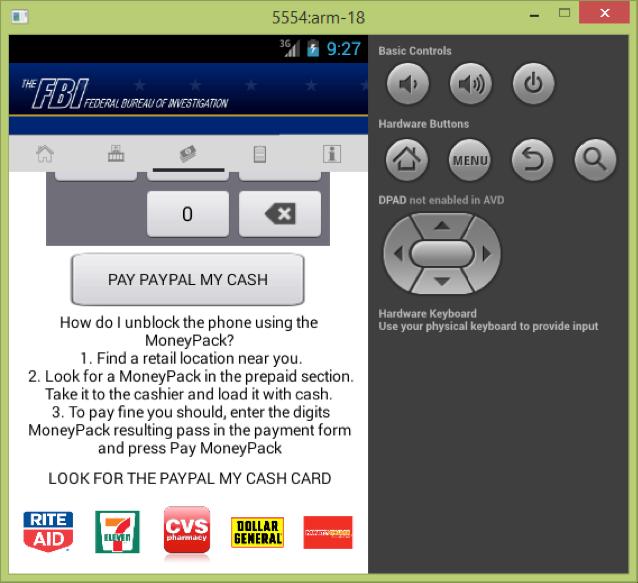 Beispiel für eine Ransomware, die es auf Android-Nutzer abgesehn hat, ist  diese Variante von Android.Trojan.SLocker.DZ. In diesem Fall gaukelt sie Betroffenen vor, das FBI hätte sie ins Visier genommen, um sie zu einer Zahlung zu bewegen (Bild: Bitdefender).