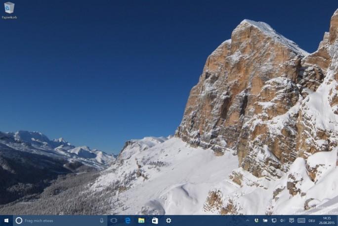 Windows-10-Desktop: Nur der Papierkorb ist zu sehen (Screenshot: ZDNet.de)