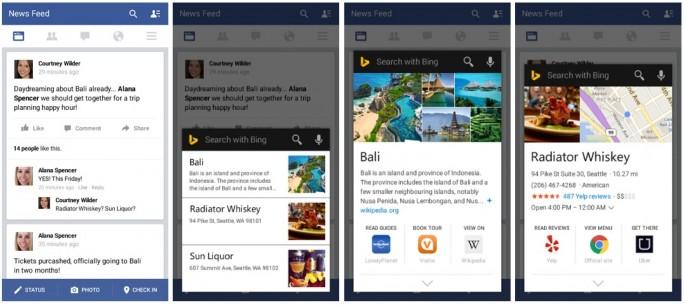 Bing-Suche aufgrund des Bildschirminhalts, hier ein Facebook-Newsfeed  (Screenshots: Microsoft)