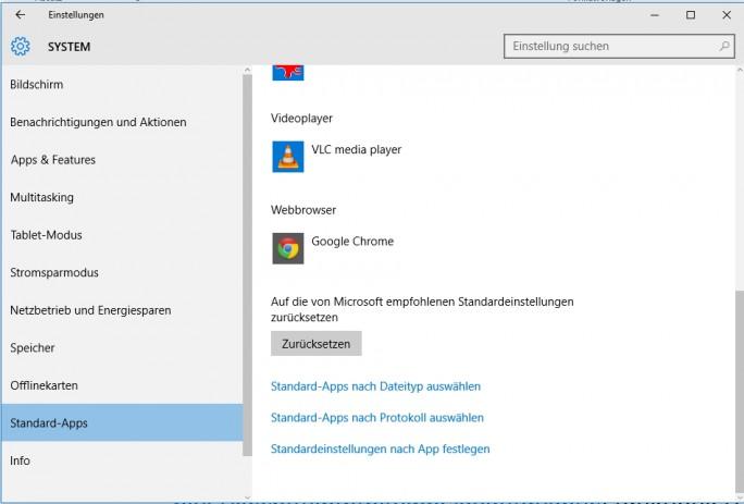 In den Standard-Einstellungen wird Google Chrome als Standard-Browser eingestellt. Mit dieser Einstellung kommt auch Cortana zurecht (Screenshot: Thomas Joos).