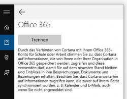 Cortana lässt sich in Windows 10 bereits an Office 365 anbinden (Screenshot: Thomas Joos).