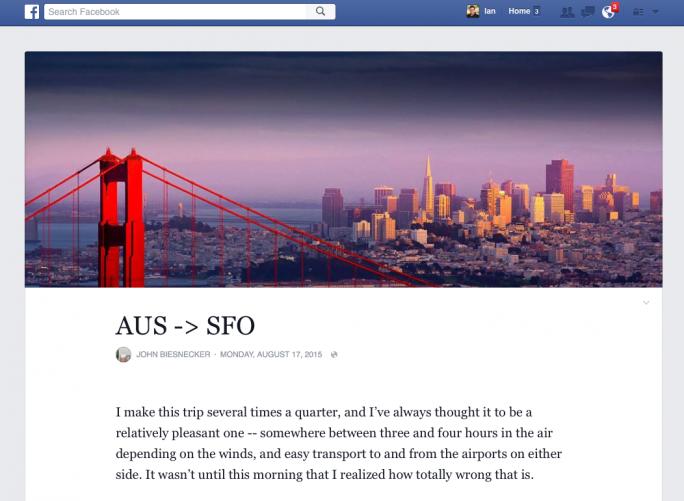 Neues Design von Facebook Notes (Screenshot: Ian Sherr, CNET)