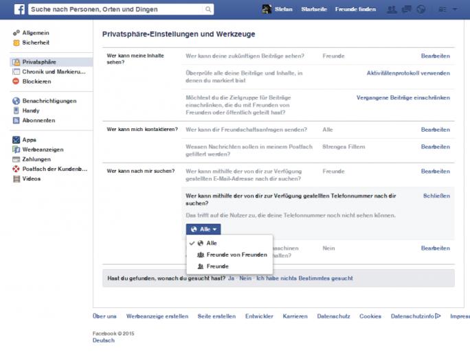 Facebook Privatsphäreeinstellungen (Screenshot: ZDNet.de)