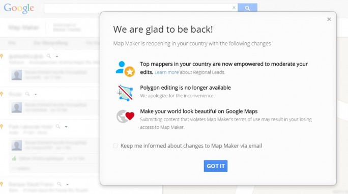 Google Map Maker meldet sich nach einer durch Vandalismus bedingten Auszeit zurück (Screenshot: ZDNet.de)
