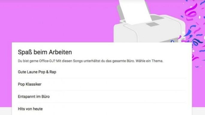 Google Play Music schlägt jetzt beispielsweise die passende Musik für die Arbeit im Büro vor (Bild: Google).