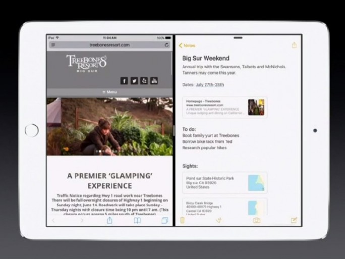 iOS 9: iPad-SplitScreen (Screenshot: ZDNet.de)