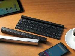 Das LG Rolly Keyboard KBB-700 in zusammengefaltetem und auseinandergefaltetem Zustand (Bild: LG).