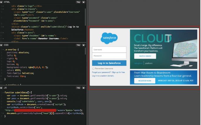 Nachgebautes und per XSS injiziertes Salesforce-Log-in (Bild: Elastica)