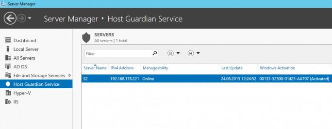 Mit dem Host Guardian Service bietet Microsoft mehr Sicherheit für Hyper-V-Hosts und den darauf positionierten VMs (Screenshot: Thomas Joos).