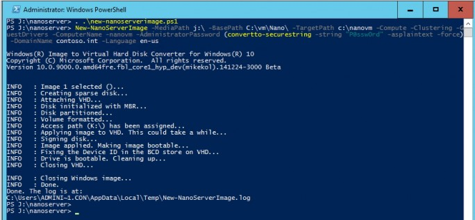 In Windows Server 2016 TP3 erstellen Administratoren in der PowerShell eine neue bootfähige VHD eines Nano-Servers (Screenshot: Thomas Joos).