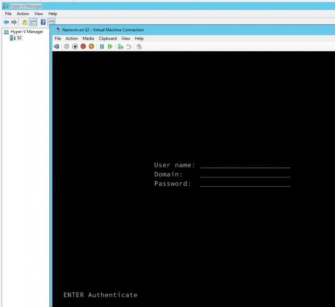 Nano-Server verfügen in Windows Server 2016 über eine eigene Anmeldeoberfläche (Screenshot: Thomas Joos).