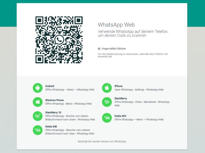 Der Web-Client von WhatsApp unterstützt jetzt auch iOS (Screenshot: ZDNet.de).