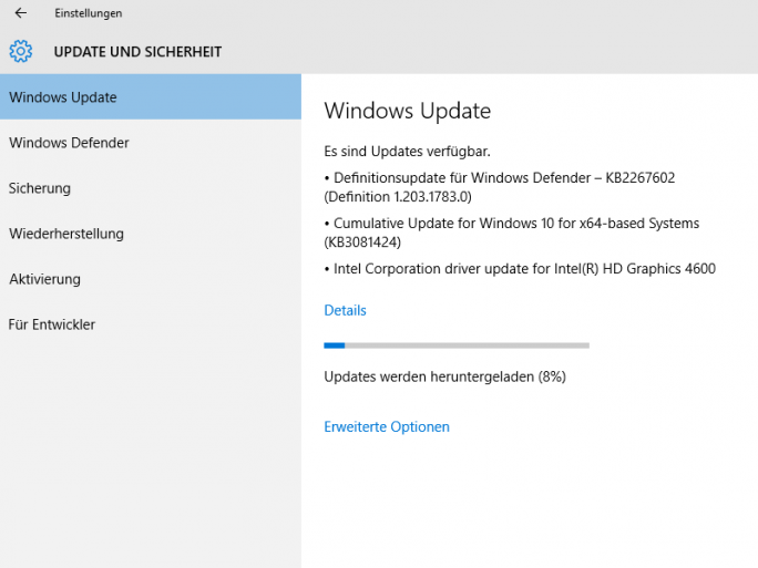 Kumulatives Updates 3081424 für Windows 10 (Screenshot: ZDNet.de)