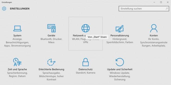 Einstellungen: Hauptkategorien an Startmenü heften (Screenshot: ZDNet.de)