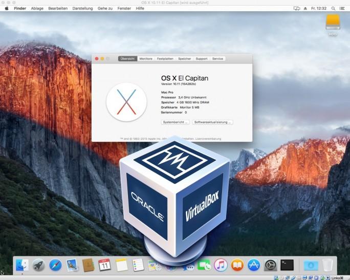 El Capitan kann unter Virtualbox als virtuelle Maschine betrieben werden (Screenshot: ZDNet.de)