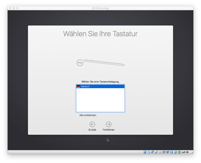 Virtualbox: Installation von OS X 10.11.1 El Capitan (Screenshot: ZDNet.de)