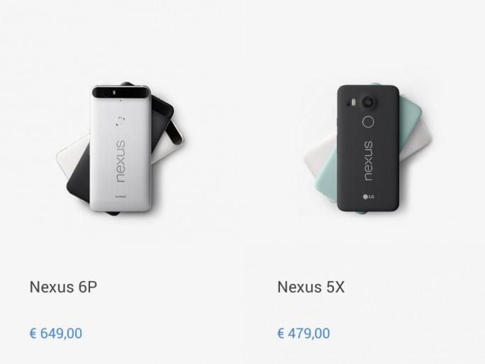 Preise für Nexus 5X und 6P in Euro (Screenshot: ZDNet.de)