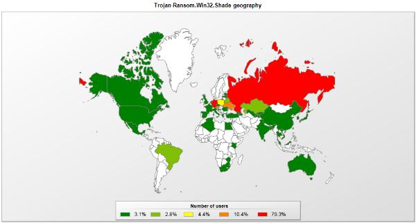 Die Erspressersoftware Shade wurde bislang besonders häufig in Russland und im deutschsprachigen Raum beobachtet (Grafik: Kaspersky).