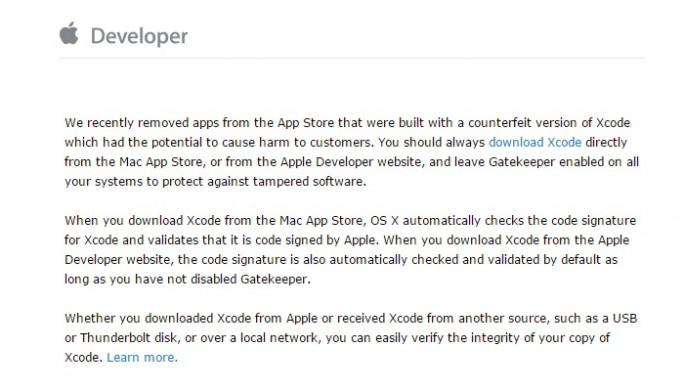 XcodeGhost: E-Mail an Apple-Entwickler (Screenshot: ZDNet.de)