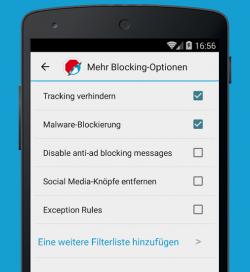 Der Adblock Browser kann auch Tracking verhindern und auf Websites eingebettete Social-Media-Knöpfe deaktivieren (Bild: Eyeo).
