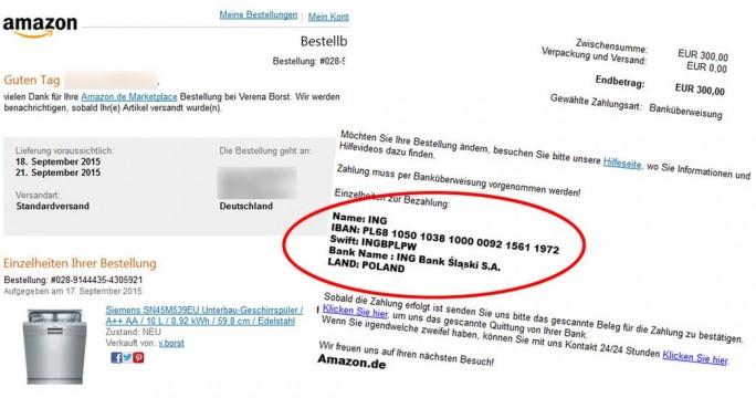 Per E-Mail fordern die Betrüger Vorauskasse auf ein Konto im Ausland (Screenshot: vz-nrw.de).