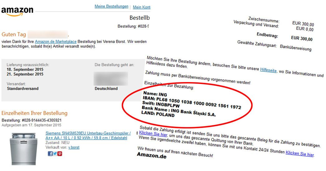 ae54c5818b7f6c Per E-Mail fordern die Betrüger Vorauskasse auf ein Konto im Ausland  (Screenshot  vz-nrw.de).