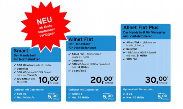 Die neuen Postpaid-Tarife ab Ende September (Screenshot: CNET.de)
