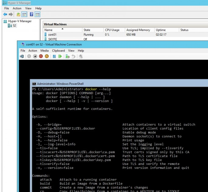 Docker lässt sich auch in einem virtuellen Server auf Basis von Hyper-V mit Windows Server 2012 R2 und Windows Server 2016 testen (Screenshot: Thomas Joos).