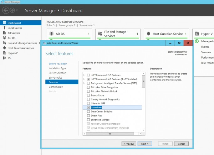 Die Container-Technologie wird als Feature in Windows Server 2016 TP3 installiert (Screenshot: Thomas Joos).