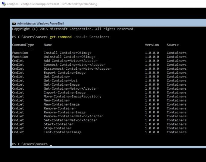 In der PowerShell stehen zahlreiche Befehle für die Verwaltung von Containern zur Verfügung (Screenshot: Thomas Joos).