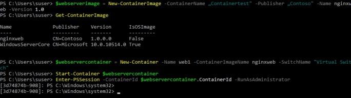 In der PowerShell erstellen Administratoren sehr schnell neue Images und aus Images neue Container, die wiederum in der PowerShell verwaltet werden (Screenshot: Thomas Joos).