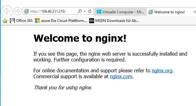 Die nginx-Webseite im Container ist auch problemlos über das Internet verwendbar (Screenshot: Thomas Joos).