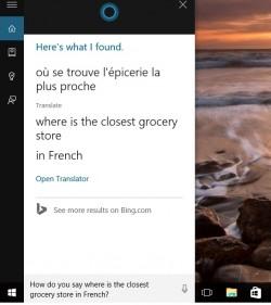 Englisch-französische Übersetzung durch Cortana unter Windows 10 (Screenshot: Microsoft)