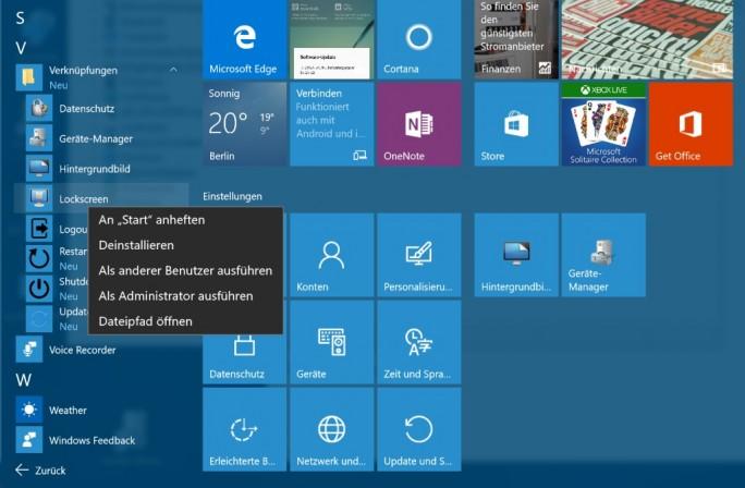 Desktop-Verknüpfungen an Startmenü heften (Screenshot: ZDNet.de)