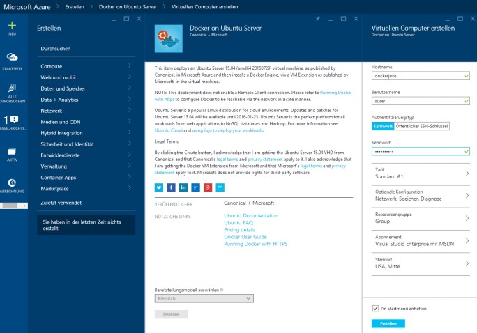Docker lässt sich in Microsoft Azure auch als virtueller Linux-Server nutzen und mit Windows Server Containern verbinden (Screenshot: Thomas Joos).