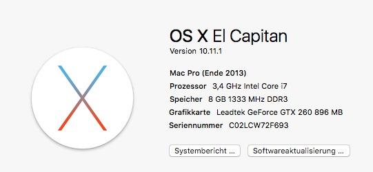 OS X 10.11.1 El Capitan (Screenshot: ZDNet.de)