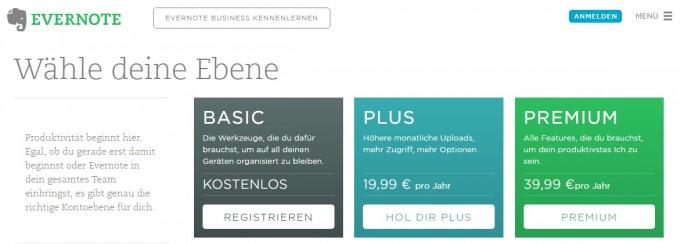 Preisstruktur von Evernote (Screenshot: ZDNet.de)