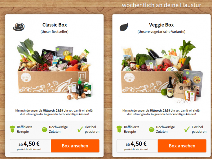 Kochboxen von HelloFresh (Screenshot: ZDNet.de)