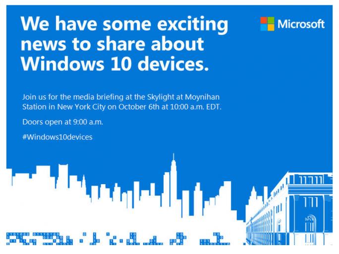 Microsoft stellt am 6. Oktober neue Windows-10-Geräte vor (Bild: Microsoft).